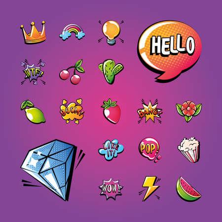 set of icons pop art style on purple background vector illustration design  イラスト・ベクター素材