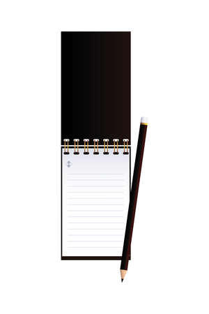 notebook open with pencil in image corporation vector illustation design
