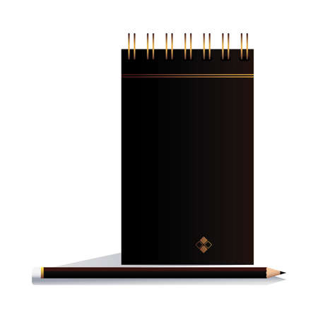 notebook with pencil black in image corporation vector illustation design