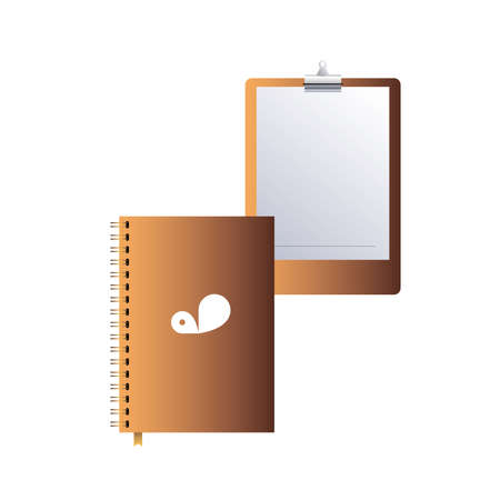 clipboard and notebook with corporate design vector illustration design