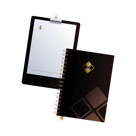 clipboard and notebook black with corporate design vector illustration design Illustration