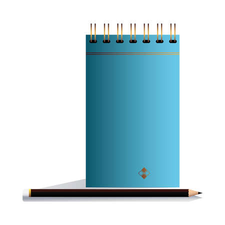notebook blue with pencil in image corporation vector illustation design