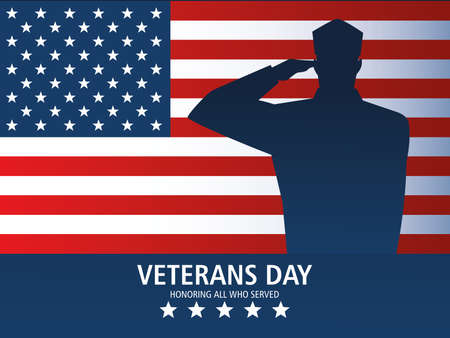 happy veterans day, greeting card soldier salute and US flag memorial vector illustration