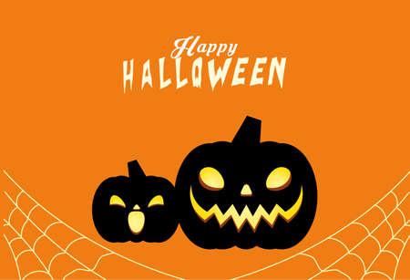 Halloween black pumpkins cartoons design, Holiday and scary theme Vector illustration