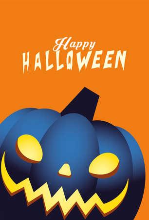 Halloween blue pumpkin cartoon design, Holiday and scary theme Vector illustration 向量圖像