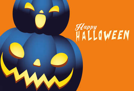 Halloween blue pumpkins cartoons design, Holiday and scary theme Vector illustration