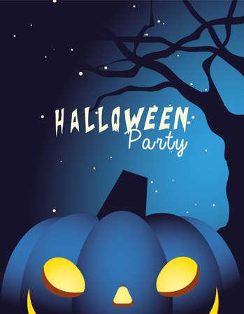 Halloween pumpkin cartoon at tree design, Holiday and scary theme Vector illustration 向量圖像