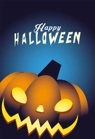 Halloween orange pumpkin cartoon design, Holiday and scary theme Vector illustration