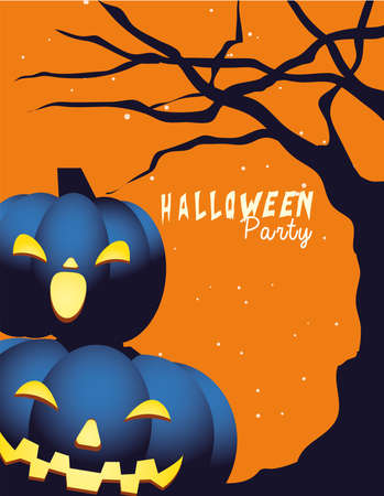 Halloween pumpkins cartoons at tree design, Holiday and scary theme Vector illustration