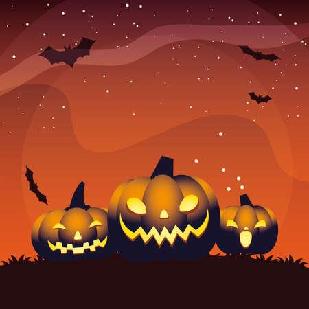 Halloween orange three pumpkins cartoons design, Holiday and scary theme Vector illustration 向量圖像