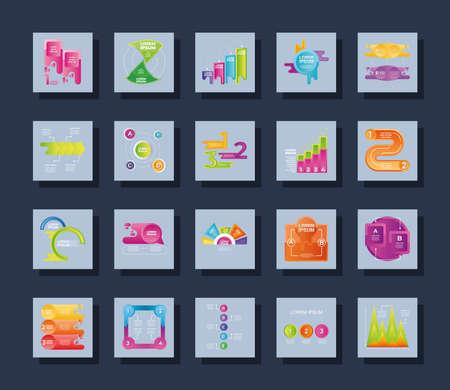 infographic set different diagram, workflow, strategy data square icons vector illustration Ilustração Vetorial