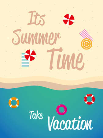 summer vacation travel, top view beach sand with float and towels vector illustration detailed