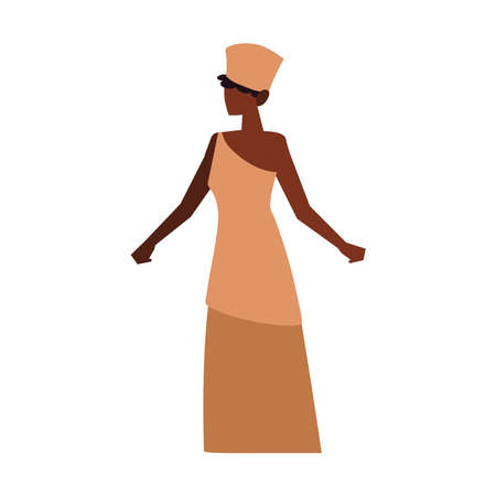 african woman wearing traditional clothes standing character vector illustration isolated icon