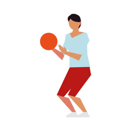 man playing with ball activity sport lifestyle outdoor vector illustration 向量圖像