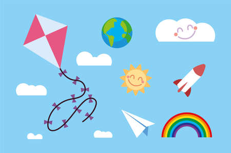 kids toy kite, rocket, paper plane, rainbow sky clouds vector illustration Ilustrace
