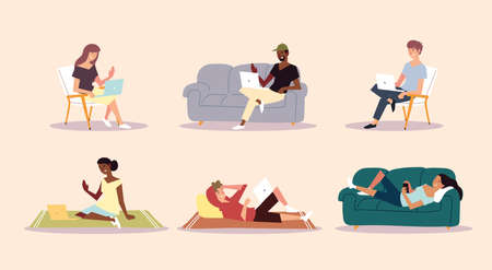 people at home working lifestyle and relaxation, indoor activities vector illustration