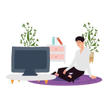 young man sitting on floor with computer indoor activities vector illustration