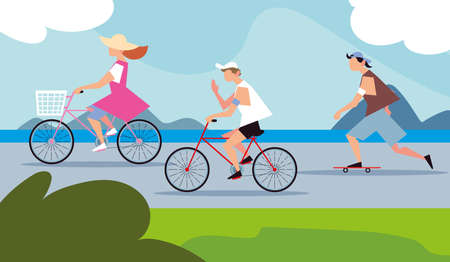people riding bikes and skateboard in the street activity outdoor vector illustration Illustration
