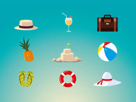 summer vacation travel, hat pineapple suitcase cocktail float sandcastle icons vector illustration detailed Ilustracja