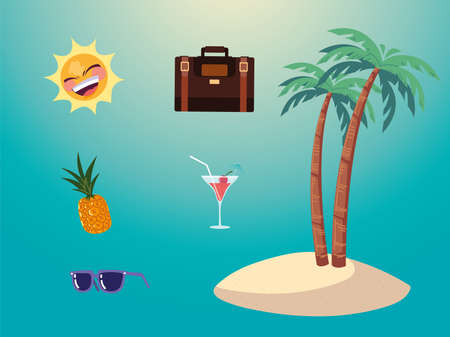 summer vacation travel, island palms pineapple sunglasses suitcase and sun vector illustration detailed