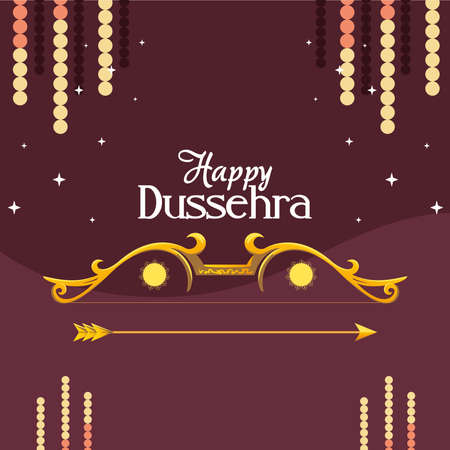 gold bow with arrow with stars on purple background design, Happy dussehra lord ram festival and indian theme Vector illustration