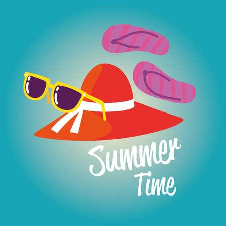summer vacation travel, female hat flip flops and sunglasses vector illustration detailed