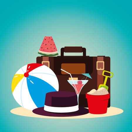 summer vacation travel, suitcase ball hat bucket watermelon and cocktail vector illustration detailed