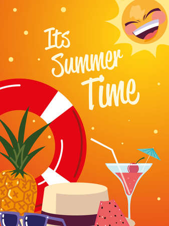 summer vacation travel, float cocktail hat and sunglasses vector illustration detailed