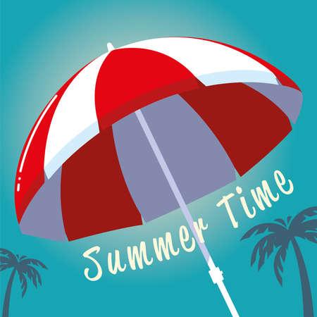 summer vacation travel, umbrella beach palms vector illustration detailed