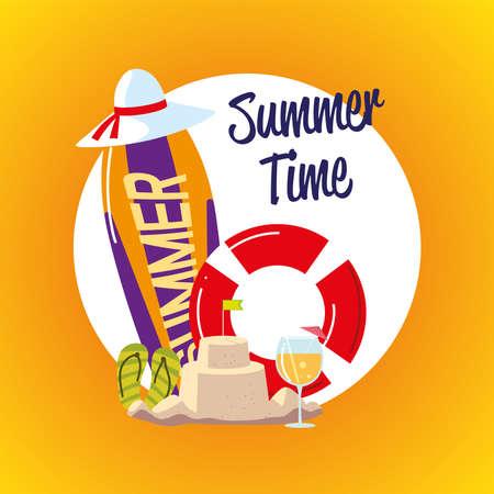 summer vacation travel, surfboard float sandcastle hat cocktail label vector illustration detailed 일러스트
