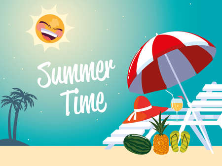 summer vacation travel, chair umbrella hat pineapple and cocktail vector illustration detailed