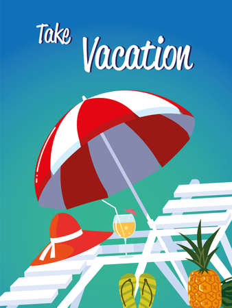 summer vacation travel, deck chair umbrella cocktail and pineapple vector illustration detailed Ilustracja