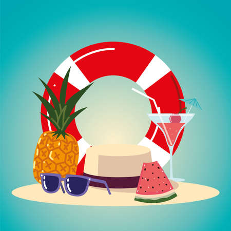summer vacation travel, float cocktail pineapple sunglasses and hat vector illustration detailed Ilustracja