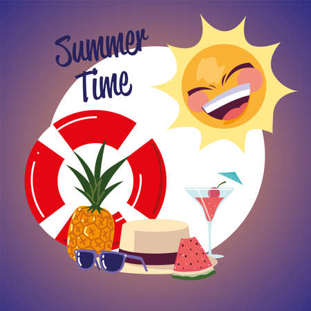 summer vacation travel, sun float sunglasses watermelon and cocktail banner vector illustration detailed Ilustração