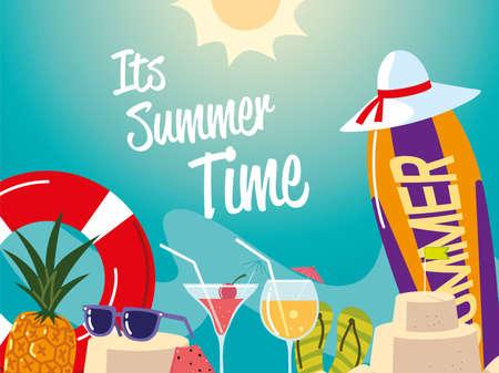 summer vacation travel, surfboard float sunglasses cocktails sandcastle vector illustration detailed 일러스트