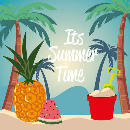 summer vacation travel, sand bucket pineapple watermelon and palms vector illustration detailed