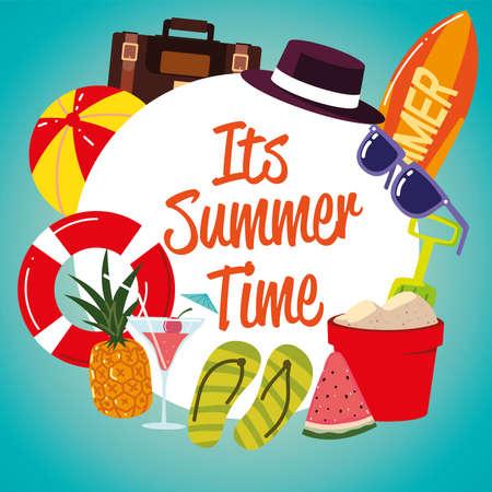 summer vacation travel, float flip flops pineapplle sunglasses label vector illustration detailed Ilustração Vetorial