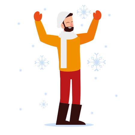 christmas people, man with hat mittens and scarf season winter celebration vector illustration