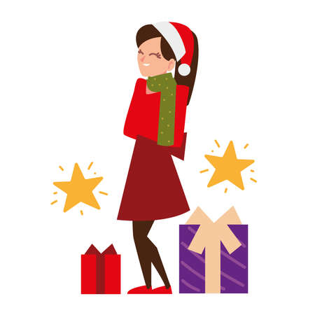 christmas people, woman with hat and gifts celebrating season party vector illustration