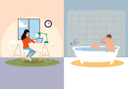 indoor activities, woman typing in laptop and man taking bath vector illustration
