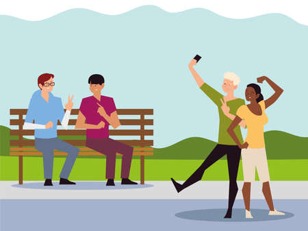 people outdoor activity, couple taking selfie and men sitting on bench park vector illustration
