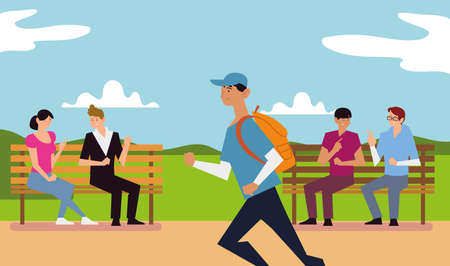 people outdoor activity, persons talking on bench park and man running vector illustration