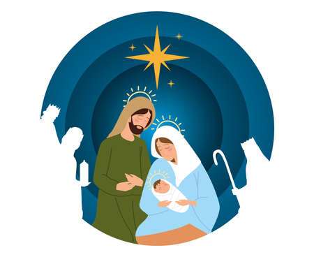 nativity, manger scene joseph mary baby jesus and wise kings in silhouette card vector illustration