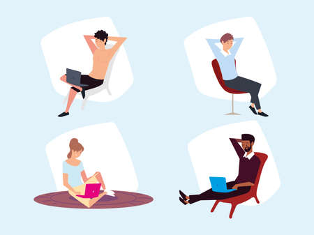 set of people sitting with laptop working vector illustration