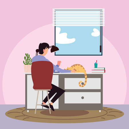back view man with cat on desk in the room vector illustration vector illustration Vektorové ilustrace