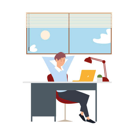 young man working with laptop on desk in the room vector illustration
