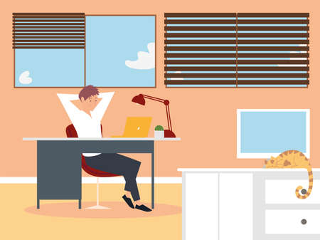 man working with laptop on desk in the office vector illustration