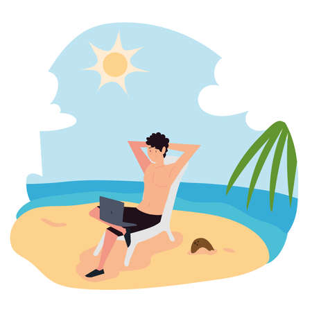 young man working with laptop sitting on chair in the beach vector illustration