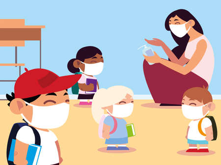 back to school, teacher and pupils in classroom with masks and applying sanitizer vector illustration