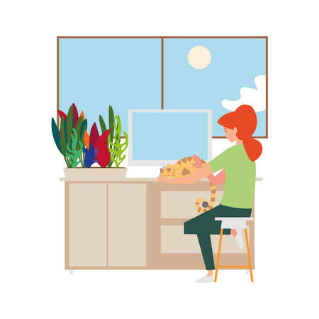 young woman working with computer and cat in desk vector illustration